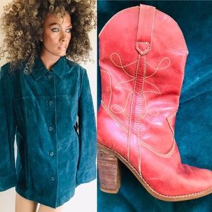 Jaclyn Smith NWT Teal SUEDE LEATHER JACKET Large